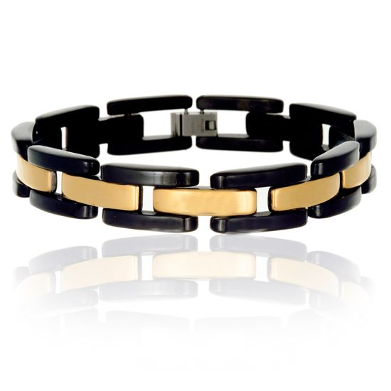 Imagen de Two-Tone Stainless Steel Mens 8 Link Chain Bracelet