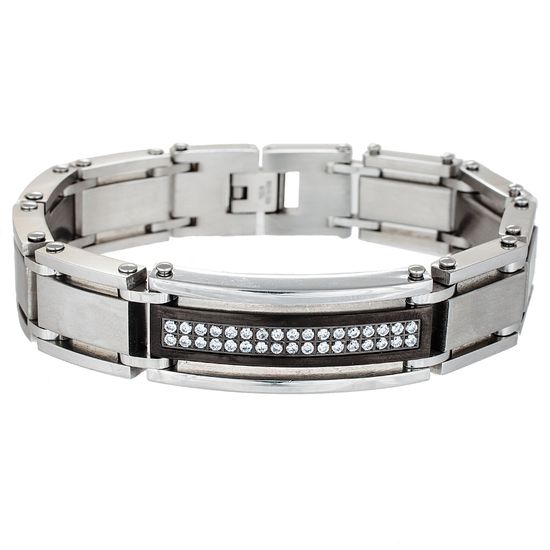 Picture of Two-Tone Stainless Steel Matte ID Center with Cubic Zirconia Link Bracelet