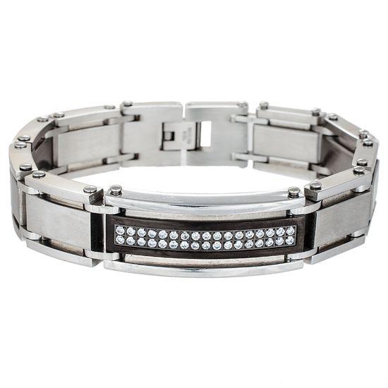 Imagen de Two-Tone Stainless Steel Matte ID Center with Cubic Zirconia Link Bracelet