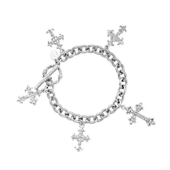Imagen de Silver-Tone Stainless Steel Cross Charms 7 Rolo Chain Bracelet
