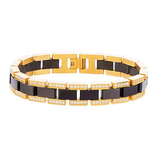 Imagen de Two-Tone Stainless Steel Men's Double Row Cubic Zirconia Tungsten Link Bracelet