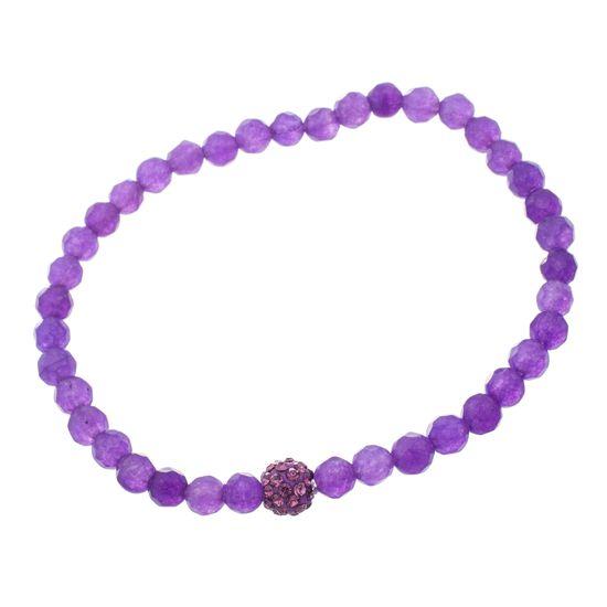 Imagen de Sterling Silver Purple Cubic Zirconia Amethyst Beaded Stretch Bracelet