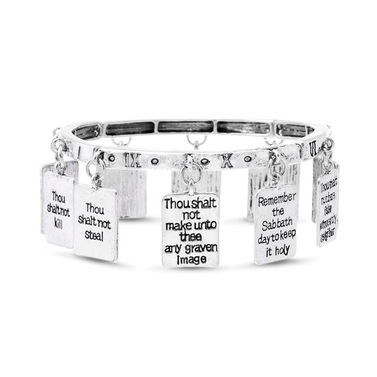 Imagen de Silver Tone Alloy Black Enamel Dangling  10 Commandments Charms Bracelets