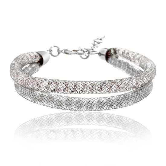 Imagen de Silver-Tone Alloy Crystal Twisted Design Double Stranded Mesh Chain Bracelet