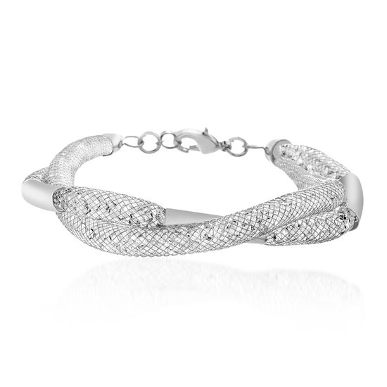 Imagen de Silver-Tone Alloy Crystal Curved Bar Twisted Design Double Stranded Mesh Chain Bracelet