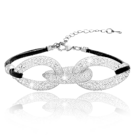 Imagen de Silver-Tone Alloy Crystal Interlocked Rings Black Cord Bracelet