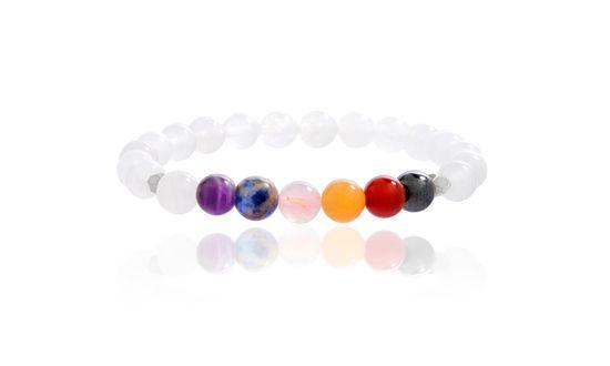 Imagen de Silver-Tone Alloy Multi-Colored Gemtstone Beaded Stretch Bracelet