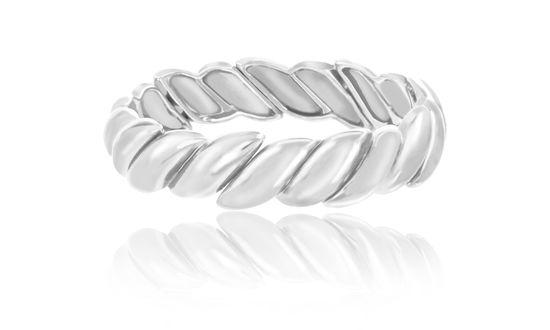 Imagen de Silver-Tone Alloy Textured Design Stretch Bracelet