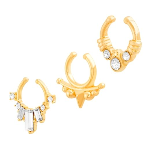 Imagen de Cubic Zirconia Baguette and Spikes 3 Piece Cuff Nose Ring Set