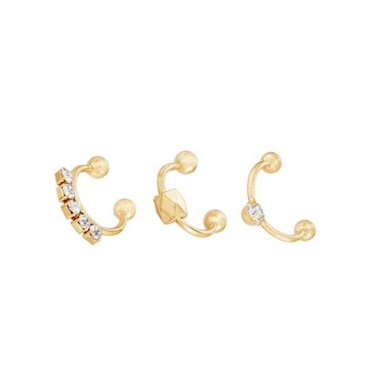 Imagen de Cubic Zirconia Ball Ends 3 Piece Cuff Nose Ring Set