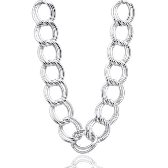 Imagen de Silver-Tone Interlocking Rings White Gold Wheat Chain Necklace