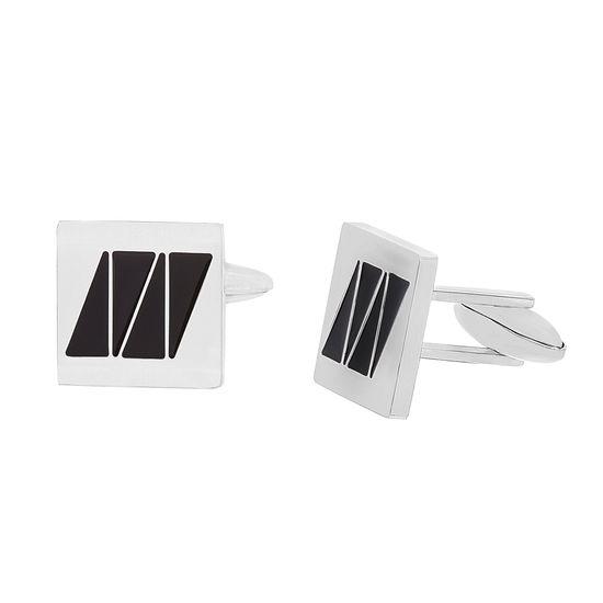 Imagen de Stainless Steel Square with Black Enamel Cufflinks