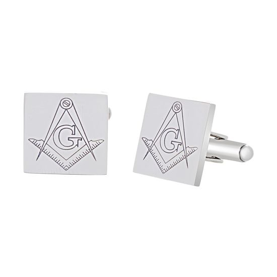 Imagen de Silver-Tone Stainless Steel Men's Masonic Square Cufflinks