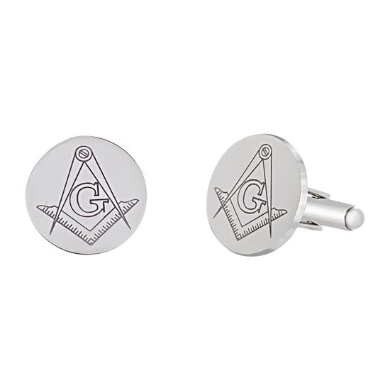 Imagen de Two-Tone Stainless Steel Men's Masonic Round Cufflinks