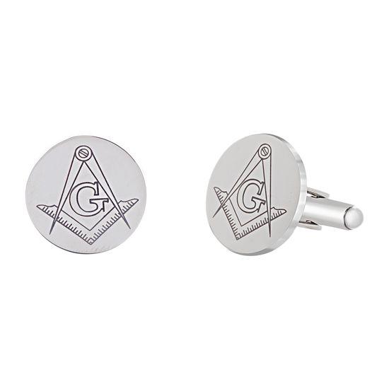 Imagen de Two-Tone Stainless Steel Men's Masonic Round Cufflinks