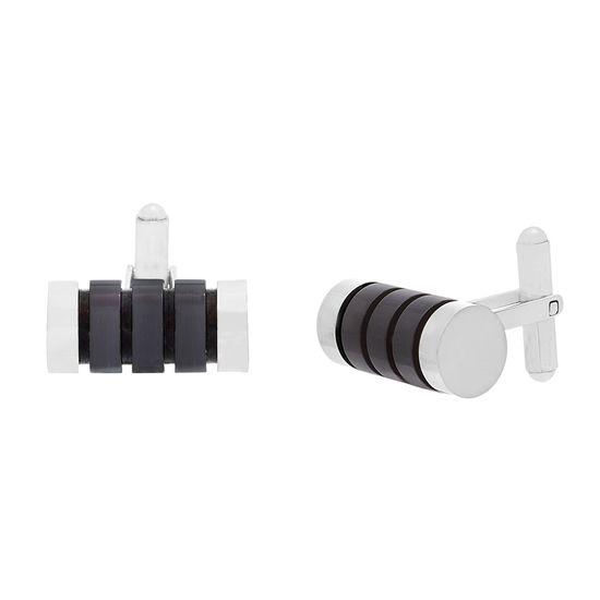 Imagen de Two-Tone Stainless Steel Black Cylinder Cufflinks