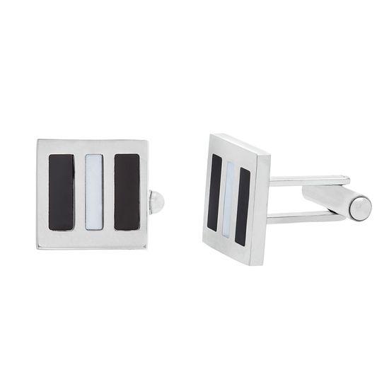 Imagen de Silver-Tone Stainless Steel With Enamel Cuff Links