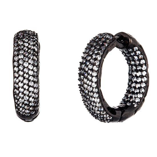 Imagen de Black Onyx Sterling Silver Pave Cubic Zirconia 25mm Huggie Earring