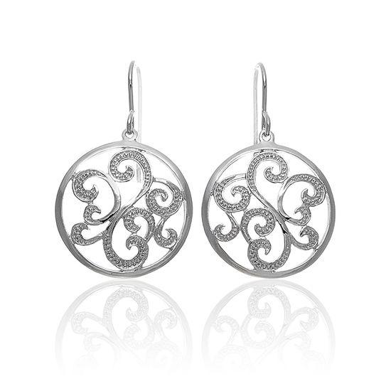 Imagen de Filagree Disc Dangling Earring in Sterling Silver