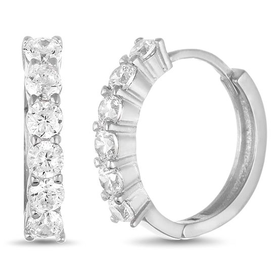 Imagen de Cubic Zirconia Huggie Hoop Earring in Rhodium over Sterling Silver