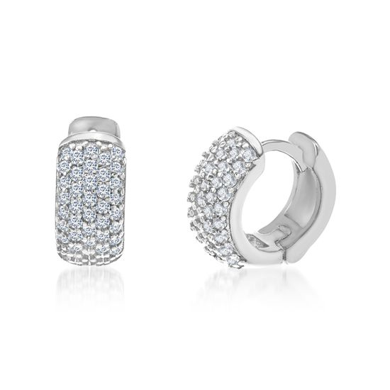 Imagen de Cubic Zirconia Pave Huggie Earrings in Sterling Silver