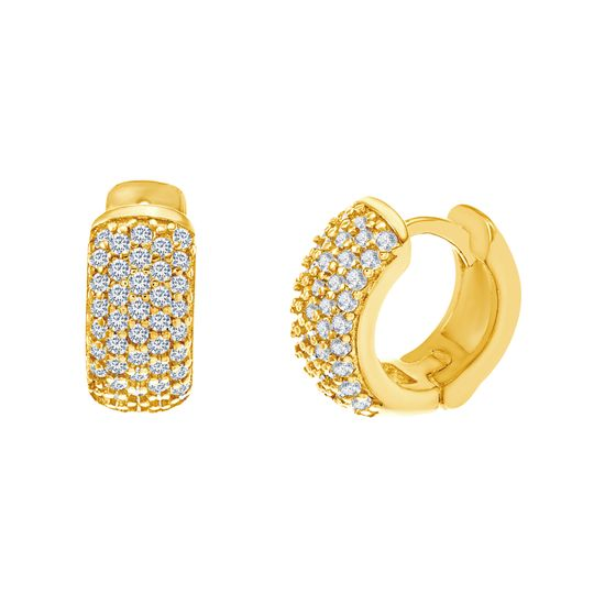 Picture of Sterling Silver Cubic Zirconia Polished Dome Huggie Earring