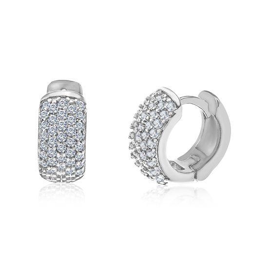 Picture of Sterling Silver Cubic Zirconia Pave Huggie Hoop Earrings