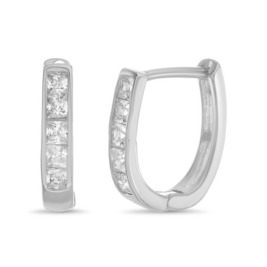 Picture of Square Cubic Zirconia Huggie Earring in Sterling Silver