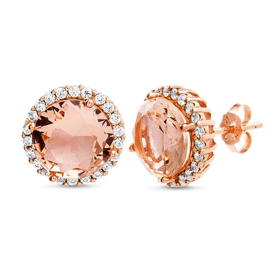 Picture of Sterling Silver Rose Peach Cubic Zirconia Halo Post Earring
