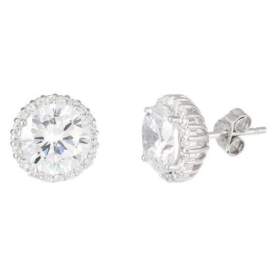 Imagen de Sterling Silver Cubic Zirconia 7mm Stud Earrings