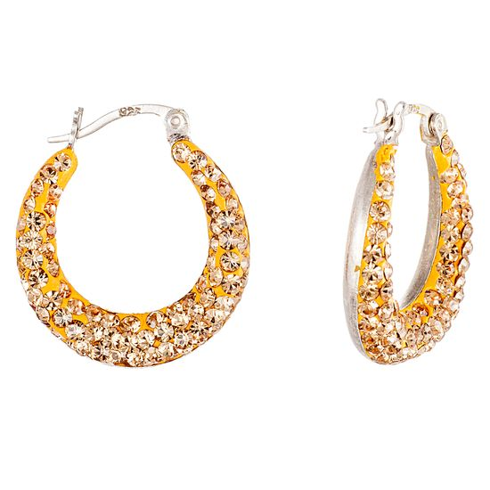 Imagen de Sterling Silver Canary Yellow Cushion on Round Set U Hinge Earring
