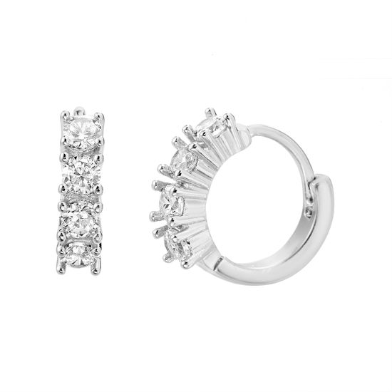 Picture of Round Cubic Zirconia Huggie Hoop Earrings in Rhodium over Brass