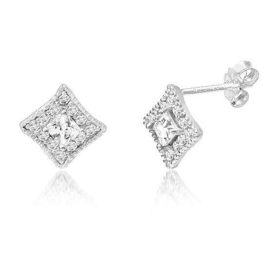 Imagen de Cubic Zirconia Square Stud Earring in Sterling Silver