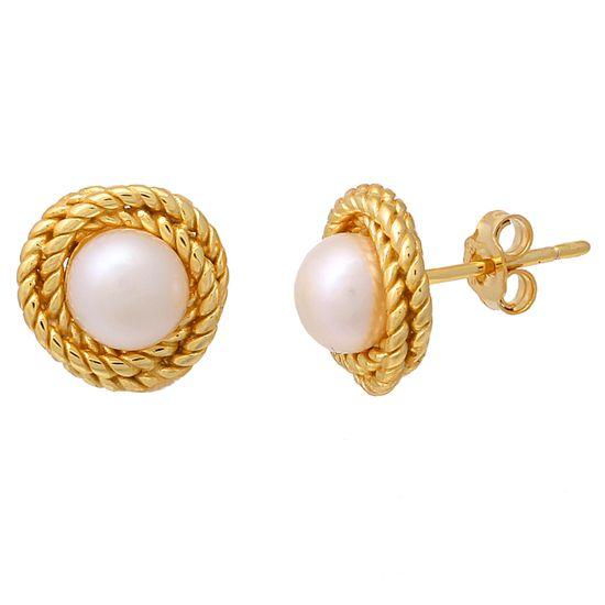 Imagen de Sterling Silver Twisted Rope Pearl Stud Earrings