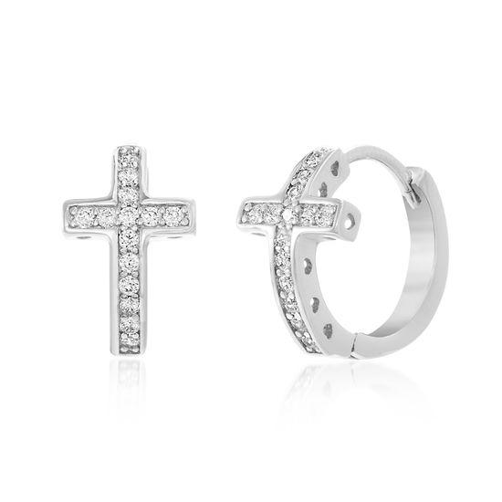 Imagen de Sterling Silver Cubic Zirconia Cross Curved Huggie Hinge Earring