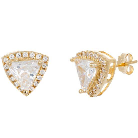 Imagen de Sterling Silver Cubic Zirconia Triangle Post Earrings