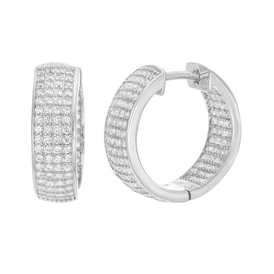 Picture of Sterling Silver Cubic Zirconia Diamond Cutout and Pave Huggie Hoop Earrings