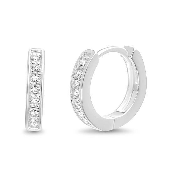 Imagen de Sterling Silver Cubic Zirconia Huggie Hoop Earrings