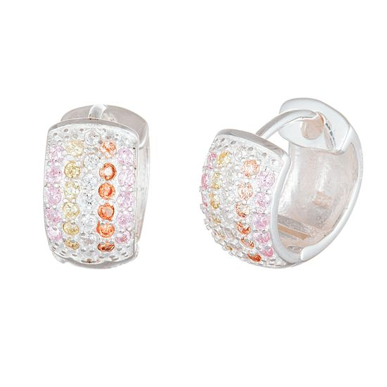 Picture of Sterling Silver Cubic Zirconia Polished 5 Row Huggie Earrings