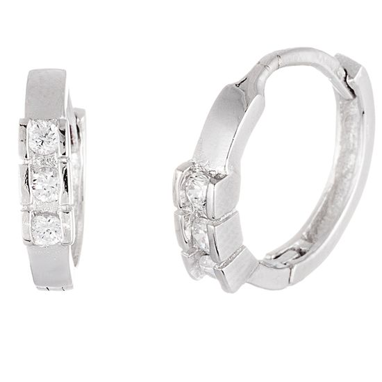 Imagen de Sterling Silver Cubic Zirconia Huggie Earrings