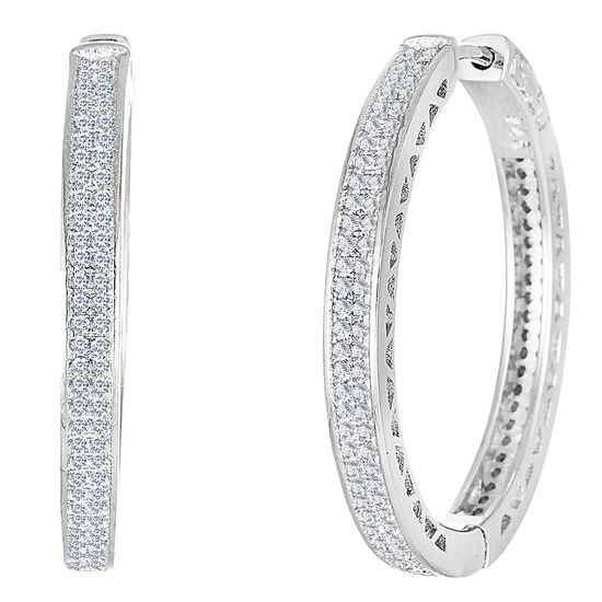 Imagen de Pave Set Cubic Zirconia Hoop Earrings in Rhodium over Sterling Silver