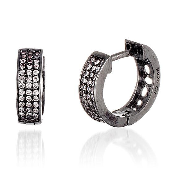 Imagen de Black Onyx Sterling Silver Triple Row Cubic Zirconia Huggie Earring