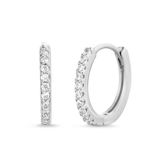 Imagen de Women Single Row Round Cut Cubic Zirconia Huggie Hoop Earrings in Sterling Silver