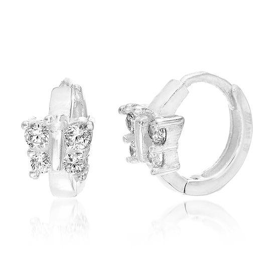 Imagen de Sterling Silver Cubic Zirconia Butterfly Huggie Hoop Earrings