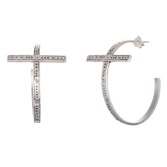 Picture of Sterling Silver Antiqued Embedded Celtic Cross Open Hoop Post Earring