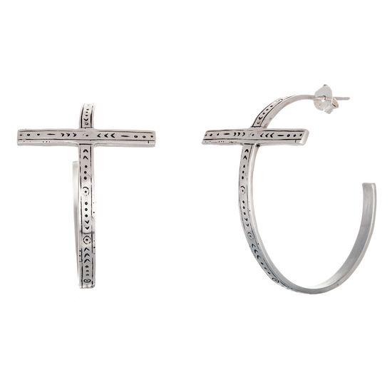 Imagen de Sterling Silver Antiqued Embedded Celtic Cross Open Hoop Post Earring