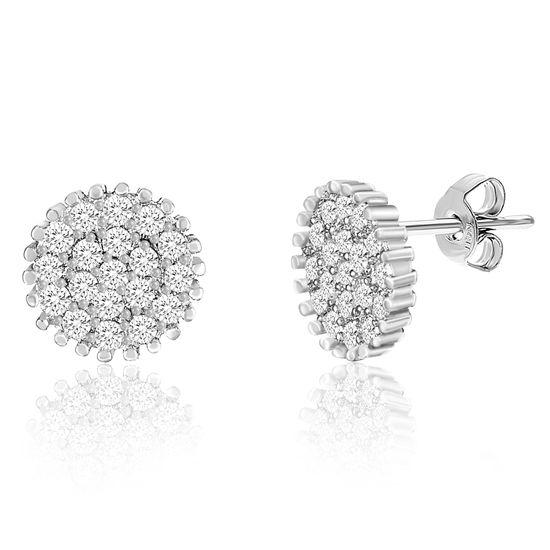 Imagen de Sterling Silver Cubic Zirconia Pave Stud Post Earrings