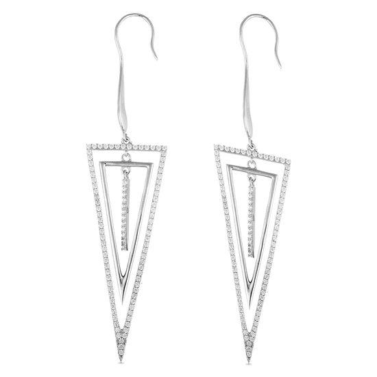 Imagen de Sterling Silver Cubic Zirconia Dangling Triangle Hook Earrings