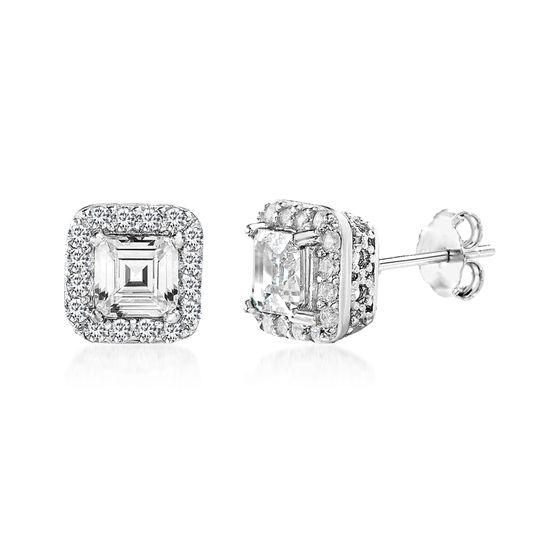 Imagen de Cushion Shaped Cubic Zirconia Stud Earrings in Rhodium over Sterling Silver