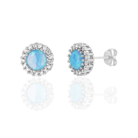 Imagen de Sterling Silver Blue Opal & CZ Circle Border Design Post Earring